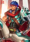 1boy bara blue_eyes blue_hair bulge cape collarbone feet_out_of_frame fingerless_gloves fire_emblem gloves headband highres ike_(fire_emblem) leg_up looking_at_viewer male_focus muscle na_insoo pants red_cape revision single_pauldron sitting thick_thighs thighs tight tight_pants white_pants