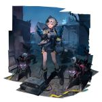 1girl :d alternate_costume arknights black_footwear blue_gloves boots full_body gloves grey_eyes grey_jacket grey_shirt hand_up highres holding huanxiang_heitu jacket long_sleeves looking_at_viewer mayer_(arknights) official_art open_clothes open_jacket open_mouth pointing robot shadow shirt short_hair_with_long_locks silver_hair smile solo standing thighs transparent_background