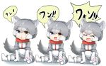 3girls animal_ears blue_eyes boots closed_eyes collar commentary_request dog_(mixed_breed)_(kemono_friends) dog_ears dog_girl dog_tail elbow_gloves eyebrows_visible_through_hair fang fur_trim gloves grey_fur grey_hair grey_jacket grey_legwear grey_skirt harness heterochromia highres jacket kemono_friends multicolored_hair multiple_girls open_mouth pantyhose paw_print_soles pleated_skirt red_collar short_hair short_sleeves sitting skirt sweater szgxmfd3b9airnx tail translated triangle_mouth white_gloves white_hair white_sweater yellow_eyes younger