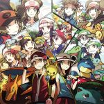 6+boys 6+girls bandana baseball_cap bayleef beanie black_hair blastoise brendan_(pokemon) brown_eyes brown_hair charizard closed_mouth combusken commentary_request croconaw dawn_(pokemon) ethan_(pokemon) fire flame gen_1_pokemon gen_2_pokemon gen_3_pokemon gen_4_pokemon gen_5_pokemon great_ball grey_eyes grotle grovyle hair_ornament hairclip hand_on_headwear hat hilbert_(pokemon) hilda_(pokemon) holding holding_poke_ball leaf_(pokemon) lucas_(pokemon) lure_ball luxury_ball lyra_(pokemon) marshtomp may_(pokemon) monferno multiple_boys multiple_girls nate_(pokemon) noii on_shoulder open_mouth oshawott pikachu poke_ball poke_ball_(basic) pokemon pokemon_(creature) pokemon_(game) pokemon_bw pokemon_bw2 pokemon_dppt pokemon_emerald pokemon_frlg pokemon_hgss pokemon_on_shoulder pokemon_platinum pokemon_rse premier_ball quilava red_(pokemon) red_skirt rosa_(pokemon) sidelocks skirt smile snivy tepig tongue ultra_ball venusaur visor_cap wristband