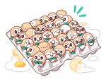 >_< chueog closed_eyes commentary_request egg_carton egg_yolk eggshell gen_7_pokemon looking_back no_humans open_mouth pokemon pokemon_(creature) rowlet sleeping tongue white_background