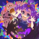 1girl acerola_(pokemon) armlet blush claw_pose commentary_request dress eyelashes fingernails gen_7_pokemon grey_eyes hair_ornament highres looking_at_viewer mimikyu open_mouth palossand pokemon pokemon_(creature) pokemon_(game) pokemon_sm purple_hair smile stitches tom_(pixiv10026189) tongue topknot