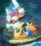:3 aki_(neyuki41028) closed_eyes closed_mouth commentary_request copyright_name dated day gen_1_pokemon gen_3_pokemon grass leaves_in_wind lying minun mudkip no_humans on_stomach open_mouth outdoors pikachu plusle pokemon pokemon_(creature) sleeping smile torchic treecko water