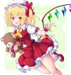 1girl :d aka_tawashi ascot bangs blonde_hair blush border bow breasts buttons commentary_request crystal eyebrows_visible_through_hair fang flandre_scarlet foot_out_of_frame frilled_cuffs frilled_shirt_collar frills hair_bow hat hat_ribbon highres holding holding_stuffed_toy index_finger_raised looking_at_viewer mob_cap one_side_up open_mouth petticoat puffy_short_sleeves puffy_sleeves red_bow red_eyes red_footwear red_ribbon red_skirt red_vest ribbon short_hair short_sleeves skirt skirt_set small_breasts smile solo striped stuffed_animal stuffed_toy teddy_bear thighs touhou vertical_stripes vest white_headwear white_legwear wings yellow_neckwear
