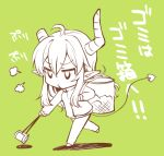 1girl ahoge basket demon_girl demon_horns demon_tail green_background horns jacket lilith_(machikado_mazoku) long_hair machikado_mazoku solo tail takano_ui tongs track_jacket track_suit translation_request trash