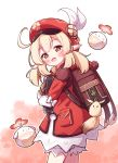 1girl :d backpack bag bangs blonde_hair book brown_gloves cabbie_hat dress eyebrows_visible_through_hair genshin_impact gloves hat heart highres klee_(genshin_impact) long_sleeves looking_at_viewer looking_to_the_side object_hug open_mouth pointy_ears red_dress red_eyes red_headwear setmen sleeves_past_wrists smile solo standing twintails white_background