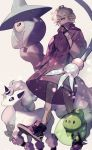 1boy bede_(pokemon) coat commentary duosion dynamax_band eyelashes galarian_form galarian_ponyta gen_5_pokemon gen_8_pokemon gloves hand_up hatterene highres leggings partly_fingerless_gloves pokemon pokemon_(creature) pokemon_(game) pokemon_swsh purple_coat purple_footwear shoes smile sou_230 violet_eyes