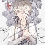 1boy ascot bandage_over_one_eye bandaid bleeding blood blood_on_flower chain commentary commentary_request flower grey_background grey_eyes highres injury leaf long_hair long_sleeves looking_to_the_side loose_banadges messy_hair natsuro original plant pocket_watch ponytail rose rose_bush shirt simple_background solo suspenders thorns torn_sleeve tsurime upper_body vines watch white_flower white_hair white_rose white_shirt