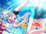 bang_dream! blush dress green_eyes green_hair hikawa_hina short_hair smile wink