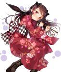 1girl absurdres bangs blush eyebrows_visible_through_hair fate/grand_order fate_(series) floral_print hair_ornament hair_ribbon highres holding holding_umbrella ishtar_(fate)_(all) ishtar_(fate/grand_order) ishtar_(puzzle_&_dragons) ishtar_(sailor_moon) japanese_clothes kimono long_hair looking_at_viewer red_eyes red_kimono ribbon sash shoes tohsaka_rin umbrella wan_(calvin840203)