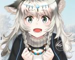 1girl animal_ear_fluff animal_ears arknights eyelashes green_eyes hatsuyuki_(kantai_collection) highres jewelry long_hair looking_at_viewer necklace open_mouth original pramanix_(arknights) surrender teeth white_hair winter winter_clothes