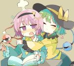 2girls @_@ bangs baron_(x5qgeh) blush book bow closed_eyes commentary desk eyeball eyebrows_visible_through_hair flustered frilled_shirt frilled_shirt_collar frilled_sleeves frills green_hair hair_ornament hairband hat hat_bow hat_ribbon head_steam heart heart_button heart_hair_ornament highres hug interrupted kiss komeiji_koishi komeiji_satori multiple_girls open_mouth pink_hair reading ribbon shirt short_hair siblings simple_background sisters sweatdrop tan_background third_eye touhou upper_body violet_eyes wide_sleeves yellow_bow yellow_ribbon yellow_shirt