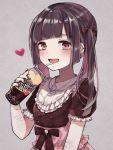 1girl bangs bleeding blood blush bow buttons can crazy dress drink drinking drinking_straw ear_piercing earrings fingernails frilled_dress frills hair_bow heart jewelry long_hair necklace open_mouth original piercing pink_eyes ribbon ring scar twintails wrist_cutting yuzuremon_(sxsm4482)