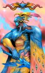 1boy absurdres armor blue_eyes cape colorful extra_eyes eyeball helmet highres holding holding_sword holding_weapon monster original pauldrons shoulder_armor solo star_(sky) sword teeth weapon winged_helmet wings witnesstheabsurd