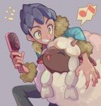 1boy aqua_jacket black_hair black_pants commentary_request fur-trimmed_jacket fur_trim gen_8_pokemon hair_brush highres holding hop_(pokemon) jacket looking_at_another mkakimikan musical_note pants pokemon pokemon_(creature) pokemon_(game) pokemon_swsh smile spoken_musical_note teeth wooloo yellow_eyes