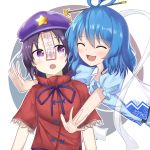 2girls :3 :d :o ^_^ absurdres bangs blue_dress blue_hair blush breasts bright_pupils closed_eyes commentary_request dress eyebrows_visible_through_hair gradient hagoromo hair_ornament hair_rings hair_stick highres ibara_kashipan kaku_seiga looking_to_the_side medium_breasts medium_hair miyako_yoshika multiple_girls ofuda open_mouth outstretched_arms parted_bangs puffy_short_sleeves puffy_sleeves purple_hair purple_headwear purple_ribbon red_shirt ribbon shawl shirt short_hair short_sleeves simple_background smile star_(symbol) touhou upper_body vest violet_eyes white_background white_vest yuri