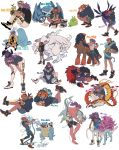 2boys absurdres bangs black_hair black_hoodie blastoise centiskorch commentary_request dark_skin dark_skinned_male dragonair earrings facial_hair gen_1_pokemon gen_2_pokemon gen_3_pokemon gen_4_pokemon gen_5_pokemon gen_7_pokemon gen_8_pokemon gym_leader highres hydreigon jewelry legendary_pokemon leon_(pokemon) long_hair luxray metagross mudsdale multiple_boys multiple_views nikukai_(nkbn_241) piplup pokedex_number pokemon pokemon_(creature) pokemon_(game) pokemon_swsh purple_hair quagsire raihan_(pokemon) reshiram shoes shorts side_slit side_slit_shorts smile suicune swadloon tepig turtwig vaporeon wooper zoroark zorua
