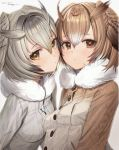 2girls absurdres bangs blush breasts brown_eyes brown_hair brown_jacket buttons closed_mouth dated eurasian_eagle_owl_(kemono_friends) eyebrows_visible_through_hair freng fur_collar gradient_hair grey_jacket head_wings highres jacket kemono_friends looking_at_viewer multicolored_hair multiple_girls northern_white-faced_owl_(kemono_friends) short_hair signature silver_hair simple_background small_breasts upper_body white_background yellow_eyes
