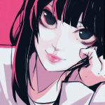 1girl absurdres black_eyes black_hair closed_mouth face fingernails highres homuntan huge_filesize long_hair looking_at_viewer original pink_background pink_lips simple_background sketch smile solo upper_body