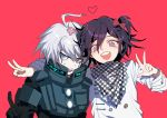 2boys ahoge android black_hair blue_eyes bow checkered commentary_request dangan_ronpa double_v flower hair_bow hair_flower hair_ornament heart keebo looking_at_viewer male_focus multiple_boys new_dangan_ronpa_v3 open_mouth ouma_kokichi pink_background power_armor protected_link scarf short_hair silver_hair simple_background smile straitjacket upper_body v violet_eyes white_skin zuizi