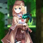 1girl 3d blonde_hair blue_eyes dayshiart diamond_pickaxe eyebrows_visible_through_hair highres holding_pickaxe hololive hololive_english jacket looking_at_viewer minecraft mini_necktie plaid plaid_skirt red_neckwear skirt smile solo virtual_youtuber watson_amelia