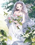 1girl bare_shoulders blush bouquet bridal_veil bride brown_hair collarbone dress earrings flower formal green_eyes highres jewelry mirei-yume open_mouth original strapless strapless_dress suit veil wedding wedding_dress white_dress white_suit