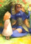 2girls absurdres age_difference armor arms_behind_back bangs blonde_hair blue_eyes blue_legwear breasts child closed_eyes dress facing_another fate/apocrypha fate_(series) flower grass headpiece highres holding holding_flower hoojiro jeanne_d'arc_(fate) jeanne_d'arc_(fate)_(all) long_hair looking_at_another medium_breasts multiple_girls nature petting sitting smile thigh-highs wariza white_dress