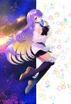 1girl abondz absurdres belt boots breasts candy choker earrings food highres hololive hololive_indonesia jewelry lollipop long_hair moona_hoshinova purple_hair saliva shorts space starry_background thigh-highs thigh_boots violet_eyes
