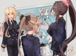 3girls ahoge akigumo_(kantai_collection) alternate_costume black_neckwear black_pants blonde_hair blue_eyes board brown_hair commentary_request cowboy_shot double-breasted flower gloves hair_flower hair_ornament himeyamato hornet_(kantai_collection) iowa_(kantai_collection) kantai_collection kazagumo_(kantai_collection) long_hair military military_uniform multiple_girls naganami_(kantai_collection) neckerchief official_style pants photo_(object) uniform white_gloves yamato_(kantai_collection) yukikaze_(kantai_collection)