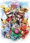 1girl 2boys baseball_cap black_hair black_shirt bone brown_eyes brown_hair charmeleon chase_(pokemon) closed_mouth commentary_request confetti cubone eevee elaine_(pokemon) gen_1_pokemon gen_7_pokemon green_shorts hand_up hat highres holding holding_poke_ball ivysaur jolteon kingin meltan mew multiple_boys mythical_pokemon on_head open_mouth pikachu poke_ball pokemon pokemon_(creature) pokemon_(game) pokemon_lgpe pokemon_on_head raichu shirt short_sleeves shorts smile teeth tongue trace_(pokemon) wartortle