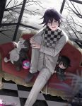 1boy :d arrow_(projectile) bangs bare_tree black_footwear checkered checkered_floor checkered_scarf commentary_request couch danganronpa double-breasted dutch_angle explosive grenade hair_between_eyes hands_on_own_knee jacket knee_up long_sleeves looking_at_viewer male_focus monokuma new_danganronpa_v3 open_mouth ouma_kokichi pants purple_hair saihara_shuuichi scarf shoes short_hair sitting smile solo straitjacket stuffed_animal stuffed_toy suusuke teddy_bear tree violet_eyes white_jacket white_pants window