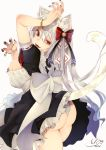 1girl :d animal_ear_fluff animal_ears apron arm_up ass bangle bangs black_dress black_nails blush bow bracelet breasts cat_ears cat_girl cat_tail chita_(ketchup) claw_pose commentary_request dress eyebrows_behind_hair fangs frilled_dress frills grey_background hair_between_eyes hair_bow highres jewelry large_breasts long_hair looking_at_viewer looking_back maid nail_polish open_mouth original panties puffy_short_sleeves puffy_sleeves red_bow red_eyes ribbon-trimmed_sleeves ribbon_trim short_sleeves signature silver_hair simple_background smile solo tail tail_raised underwear very_long_hair waist_apron white_apron white_panties