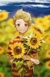 1boy aoki_(fumomo) blonde_hair blurry blurry_background blush clouds day flower grin highres holding holding_flower lucas_(mother_3) male_focus mother_(game) mother_3 outdoors shirt short_sleeves sky smile solo striped striped_shirt sunflower