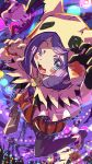 1boy 1girl acerola_(pokemon) black_gloves black_legwear blue_eyes blush_stickers bow claw_pose commentary_request cosplay crobat gen_1_pokemon gen_2_pokemon gen_3_pokemon gen_5_pokemon gen_7_pokemon gloves golbat halloween highres hilbert_(pokemon) hood hood_up kingin looking_at_viewer mightyena mimikyu mimikyu_(cosplay) one_eye_closed open_mouth orange_bow pantyhose pokemon pokemon_(creature) pokemon_(game) pokemon_masters_ex purple_hair shoes single_glove swoobat tongue woobat
