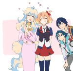 2boys 2girls ^_^ blonde_hair blue_eyes blue_hair closed_eyes crossover freyja_wion hands_together hayate_immelmann highres leaning_forward long_hair macross macross_delta mosako multiple_boys multiple_girls nia_teppelin open_mouth orange_hair short_hair simon_(ttgl) smile tengen_toppa_gurren_lagann thigh-highs very_long_hair