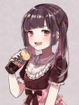 1girl bangs blush bow buttons can crazy dress drink drinking drinking_straw ear_piercing earrings fingernails frilled_dress frills hair_bow jewelry long_hair necklace open_mouth original piercing pink_eyes ribbon ring twintails yuzuremon_(sxsm4482)