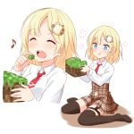 1girl blonde_hair blue_eyes blush eating english_commentary felutiahime highres hololive hololive_english minecraft multiple_views musical_note plaid plaid_skirt sitting skirt thigh-highs virtual_youtuber wariza watson_amelia what white_background