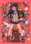 1girl 2019 absurdres bag bangs black_skirt blue_hair blush boar bread brown_footwear brown_sweater chinese_zodiac collared_shirt eggplant flower food happy_new_year highres leaf long_hair new_year no_nose open_mouth original pink_flower pleated_skirt red_nails shirt shoes sizucomaru skirt smile socks solo sweater white_shirt year_of_the_pig