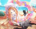 1girl :< abigail_williams_(fate/grand_order) abigail_williams_(swimsuit_foreigner)_(fate) bangs beach black_cat blonde_hair blue_eyes blush bonnet bow bowtie bright_pupils cat chromatic_aberration closed_mouth clouds commentary_request day fate/grand_order fate_(series) feet_out_of_frame food fruit grey_cat heart innertube jacket jacket_removed long_hair looking_down lying miya_(zawarudo) on_side parted_bangs petting ribbon shadow sky smile solo sparkle swimsuit thighs very_long_hair water watermelon white_bow white_neckwear white_ribbon white_swimsuit
