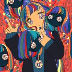 1girl abstract abstract_background absurdres aqua_hair bangs blonde_hair blue_hair blue_nails disembodied_head floating_head green_hair highres index_finger_raised jewelry long_sleeves multicolored multicolored_eyes multicolored_hair necklace no_nose orange_hair original redhead sizucomaru star_(symbol) swept_bangs upper_body