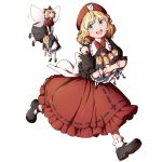 1girl absurdres ankle_socks beret black_footwear black_shirt black_skirt blonde_hair blue_dress bow doll doll_hug dress fairy_wings frilled_shirt frilled_skirt frills hair_bow hat highres holding holding_doll mary_janes medicine_melancholy mefomefo red_headwear red_neckwear red_shirt red_skirt running shirt shoes short_hair short_sleeves skirt su-san torn_clothes torn_shirt touhou white_background white_legwear wings