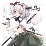 1girl :d animal animal_ears animal_hug bangs black_hairband blush collared_shirt commentary_request crossover dog dog_ears eyebrows_visible_through_hair flower frilled_skirt frills green_eyes green_skirt green_vest grey_hair hair_between_eyes hairband heart highres hug katana konpaku_youmu konpaku_youmu_(ghost) looking_at_viewer open_mouth pink_flower pochacco puffy_short_sleeves puffy_sleeves sanrio sheath sheathed shirt short_sleeves skirt smile sorani_(kaeru0768) sword touhou translation_request vest weapon white_background white_shirt