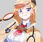 1girl blonde_hair blue_eyes blush brown_capelet brown_headwear collared_shirt deerstalker detective gears grey_background hair_ornament hat holding_magnifying_glass hololive hololive_english looking_at_viewer magnifying_glass mustache_print necktie print_neckwear red_neckwear shirt short_hair simple_background smile solo stethoscope upper_body virtual_youtuber watson_amelia white_shirt zambiie