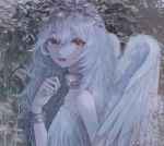 1girl angel angel_wings armband bare_shoulders berries chain collarbone cuffs feathered_wings fingernails grey_eyes hair_between_eyes kf8fw long_hair looking_at_viewer original parted_lips plant red_lips shackles solo upper_body white_hair wings