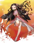 1girl absurdres brown_hair floating_hair highres japanese_clothes kamado_nezuko kimetsu_no_yaiba leg_up long_hair looking_down open_hands pink_eyes pote-mm solo