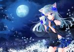 1girl absurdres animal_ear_fluff animal_ears bangs bare_shoulders black_dress blue_eyes blue_flower blue_skirt breasts clouds cloudy_sky commentary_request covered_navel dress eyebrows_visible_through_hair flower fox_mask full_moon hair_flower hair_ornament highres holding holding_mask long_hair looking_at_viewer mask moon night night_sky original outdoors parted_lips pleated_skirt see-through silver_hair skirt sky sleeveless sleeveless_dress small_breasts solo spider_lily tsukimiya_sara white_flower