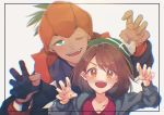 1boy 1girl absurdres black_hair black_hoodie blush brown_eyes brown_hair cardigan claw_pose commentary_request earrings eyelashes gloria_(pokemon) gloves green_headwear grey_cardigan gym_leader hands_up hat highres jewelry marei_(mercy) one_eye_closed open_mouth orange_headwear partly_fingerless_gloves pokemon pokemon_(game) pokemon_swsh raihan_(pokemon) single_glove smile tam_o'_shanter teeth tongue