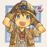 1boy :d arm_behind_head arms_up bangs blue_eyes blush brown_gloves brown_hair brown_jacket child commentary_request gloves happy hat_feather helmet highres jacket looking_at_viewer made_in_abyss male_focus natt_(made_in_abyss) open_clothes open_jacket open_mouth rua_(pixiv292244) shirt short_hair short_sleeves smile solo upper_body upper_teeth whistle whistle_around_neck