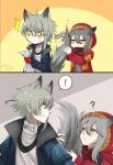 ! 1boy 1girl absurdres animal_ears aosta_(arknights) archimbek arknights artist_name blue_coat coat fur-trimmed_hood fur_trim grey_hair highres holding holding_paper hood hooded_jacket jacket paper projekt_red_(arknights) red_jacket red_scarf scarf surprised tail tail_grab turtleneck wolf_boy wolf_ears wolf_girl wolf_tail yellow_eyes