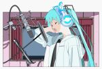 black_shirt cat_ear_headphones closed_eyes commentary curtains edoya_inuhachi english_commentary from_side hair_ornament hands_on_headphones hatsune_miku headphones highres hood hooded_jacket indoors jacket long_hair microphone music music_stand open_mouth recording_studio shirt singing twintails upper_body very_long_hair vocaloid white_jacket